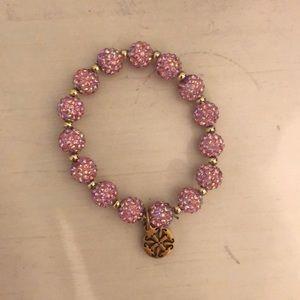Pink Rustic Cuff beaded bracelet